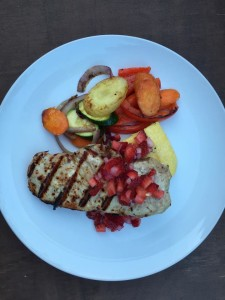 Strawberry Salsa over grilled pork, veggie and polenta.